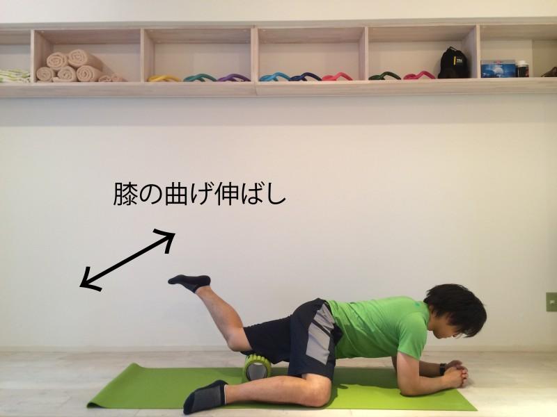 膝の痛みを改善する為外側広筋の筋膜リリースを行なう。外側広筋の筋膜リリースを実際に行っている二つ目の画像。膝の曲げ伸ばしをしている。