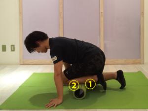 前脛骨筋筋膜リリースする際、ゾーン①とゾーン②に分けて行います。足首側をゾーン①、膝側をゾーン②とします。