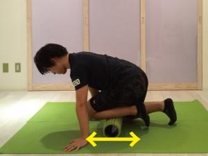 前脛骨筋筋膜リリースする際、まずストロークから行います。